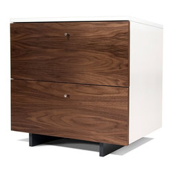 Spot on Square - Roh Nightstand - Walnut/White - Spot on Square - The Roh Nightstand, with 2 amply sized drawers, is a beautiful solution for bedside storage. The walnut veneer front conveys a rich warmth, complimented with crisp white painted top and sides, giving a fresh, modern contrast. The graphite gray painted base disappears in the shadow below, creating a light, almost floating, appearance.  Made with the highest grade green MDF and Walnut Veneer. Ships fully assembled