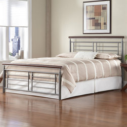 """FBG - Fontane Metal Bed - Features: -Powder Coated Finish: Yes.-Gloss Finish: No.-Finish: Silver / Cherry Metal.-Frame Material: Metal.-Upholstered: No.-Number of Items Included: 1 Headboard, 1 Footboard, 1 Bed Frame.-Hardware Material: Metal.-Non Toxic: Yes.-Scratch Resistant: No.-Mattress Included: No.-Box Spring Required: Yes -Boxspring Included: No..-Headboard Storage: No.-Footboard Storage: No.-Underbed Storage: No.-Slats Required: No.-Center Support Legs: Yes.-Adjustable Headboard Height: No.-Adjustable Footboard Height: No.-Wingback: No.-Trundle Bed Included: No.-Attached Nightstand: No.-Cable Management: No.-Built in Outlets: No.-Lighted Headboard: No.-Finished Back: Yes.-Number of Center Support Legs (Size: Full): 0.-Number of Center Support Legs (Size: King): 2.-Number of Center Support Legs (Size: Queen): 2.-Distressed: No.-Bed Rails Included: Yes.-Collection: Fontane.-Eco-Friendly: No.-Recycled Content: No.-Canopy Frame: No.-Hidden Storage: No.-Jewelry Compartment: No.-Weight Capacity: 750 lbs.-Swatch Available: No.-Commercial Use: No.-Product Care: Wipe with a clean, damp cloth.Specifications: -FSC Certified: No.-EPP Compliant: No.-CPSIA or CPSC Compliant: No.-CARB Compliant: No.-JPMA Certified: No.-ASTM Certified: No.-ISTA 3A Certified: No.-PEFC Certified: No.-General Conformity Certificate: No.-Green Guard Certified: No.Dimensions: -Overall Height - Top to Bottom (Size: Full): 48"""".-Overall Height - Top to Bottom (Size: King): 48"""".-Overall Height - Top to Bottom (Size: Queen): 48"""".-Overall Width - Side to Side (Size: Full): 56"""".-Overall Width - Side to Side (Size: King): 79"""".-Overall Width - Side to Side (Size: Queen): 63"""".-Overall Depth - Front to Back (Size: Full): 79.25"""".-Overall Depth - Front to Back (Size: King): 84.25"""".-Overall Depth - Front to Back (Size: Queen): 84.25"""".-Overall Product Weight (Size: Full): 73 lbs.-Overall Product Weight (Size: King): 96 lbs.-Overall Product Weight (Size: Queen): 87 lbs.-Headboard Dimensions Height (Size: Full):"""
