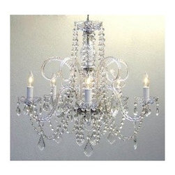 Gallery - Gallery T40-122 5 Light 1 Tier Crystal Candle Style Chandelier - Features: