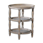 Woven Cane Kendellen Antique Accent Table - *Hand-turned Hardwood With Woven Cane Shelves In Natural, Weathered Finish With Burnished Edges And Light Antiquing Glaze.