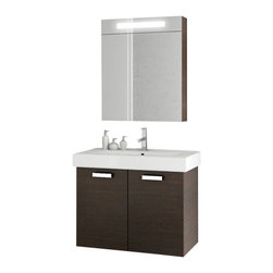ACF - 30 Inch Wenge Bathroom Vanity Set - A wall-mount contemporary bathroom vanity that is made in engineered wood and mirrored glass and ceramic and coated in wenge.