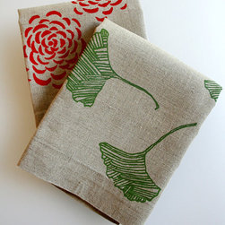 Tea Towels Flax Linen by Pony & Poppy - These tea towels are made from unbleached flax linen and hand screened with simple but sophisticated motifs.
