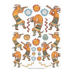 IdeaStix - Kokopelli Dancers 2-Sheet IdeaStix Accents Peel and Stick - IdeaStix Accents transform ordinary tiles, mugs, containers and such into beautiful art decorations.  Made from proprietary rubber-resin, Premium Peel and Stick Decor Accent 50 pieces are made in the shape of the design motif and come on 2 sheets (7.5 x 10.5 inches) and offer Quick and Easy solution for accentuating so many things.  With features like microwave safe, water/heat/steam-resistant, nontoxic, washable, removable and reusable, they are ideal for kitchen backsplash and bath/shower tile cecoration and also are great as labels for smooth and non-porous surfaces of plastic and glass containers, canisters, mugs, etc.  You can write on them with permanent markers.  IdeaStix Accents are probably the only products that have all these unique and wonderful features.