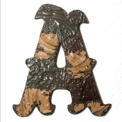 Ozark Folk Art - Antique Tin Letter A  (17.5in x 19in) - This line of antique decorative letters are handmade in the United States from reclaimed ceiling tin from the early 1900's.  Constructed from various pieces of tin hammered to evoke a patch work effect, each letter has a unique color pattern and texture.  These historic letters have a beautiful weathered and aged look.  Shades, level of distress and tin patterns vary based on the age and location of their original structure.  The tin is secured to a black painted, solid wood backing with hanging hardware attached.  All letters are available in a large and small size.  They are easy to hang on the wall or lean on a shelf, a bit of history perfect or any decor.