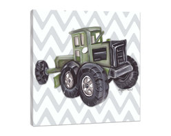 """Doodlefish - Vintage Tractor Toy - Sitting on a giant green tractor is the highlight of the county fair for boys everywhere.  This set of Doodlefish Artwork includes 18"""" x 18"""" Gallery Wrapped Giclee Prints featuring vintage toy trucks on sleek modern backgrounds.  This piece has a painting of a green antique toy tractor on a grey and white chevron pattern.  The wall decor is   If you choose to have this piece personalized, we will place your child's name in the location that looks best based on the length of the name.  This artwork is also available mounted in a painted frame of your choice.    The finished size of the mounted piece is approximately 22""""x22""""."""