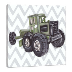 "Doodlefish - Vintage Tractor Toy - Sitting on a giant green tractor is the highlight of the county fair for boys everywhere.  This set of Doodlefish Artwork includes 18"" x 18"" Gallery Wrapped Giclee Prints featuring vintage toy trucks on sleek modern backgrounds.  This piece has a painting of a green antique toy tractor on a grey and white chevron pattern.  The wall decor is   If you choose to have this piece personalized, we will place your child's name in the location that looks best based on the length of the name.  This artwork is also available mounted in a painted frame of your choice.    The finished size of the mounted piece is approximately 22""x22""."