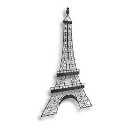 Zeckos - Black Metal Decorative Eiffel Tower Wall Art Hanging - Not all of us are able to visit the Eiffel Tower in person, however it's so easy to bring it home with this wall hanging It's made of metal and hand painted in a matte black finish and adorned with shiny clear synthetic beads making it look like the tower is brightly lit at night. The beads are faceted, so when they catch the light, they really sparkle So each time you walk through the door, your stepping into your own Paris at night scene This Eiffel tower measures 31 1/2 inches high, 17 inches wide and easily hangs on the wall using a single nail or screw by the attached hanger on the back. This Eiffel tower would look amazing in a bedroom, community area, displayed in a cafe or shop window, and makes a wonderful gift