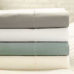Ballard Designs - Washed Percale Sheet Sets - Made in Italy of 100% cotton percale. Machine wash warm. Use only non-chlorine bleach. Swatches available. Made in Italy from ultra-soft 100% cotton percale, our Casa Florentina Sheeting is finished with fine Etrusco stitching on top and bottom, so you can enjoy the details when the bed is turned down. The understated, neutral colors were carefully selected to blend with the hand finishes of our Casa Florentina furniture for a sophisticated European look. The more you wash them and sleep in them, the softer these luxurious linens become. Set includes fitted and flat sheets, 2 standard pillow cases. King set comes with 2 king cases. Washed Cotton Percale Sheet Set features: . . . .