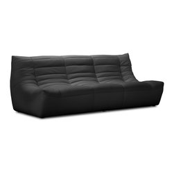 ZUO MODERN - Carnival Sofa Black - Like curling up in someone's arms, the Carnival sectional set is wrapped in a soft leatherette, padded and tufted in all the right ways. Comes in espresso, black and white.