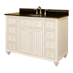 """48"""" Cottage Retreat Vanity - Featuring bead-board panels with a distressed White finish make this vanity a must-have for cottages and beach homes. Provides ample storage for your family's toiletries and accessories."""