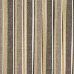 Grey Beige And Gold Striped Indoor Outdoor Marine Upholstery Fabric By The Yard - This upholstery grade fabric can be used for all indoor and outdoor applications. It is Scotchgarded, and is mildew, fade, water, and bacteria resistant. This fabric is made in America!
