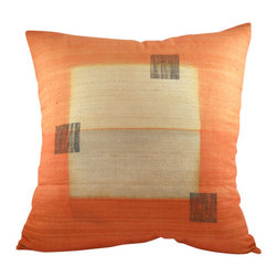 BZDesign - Orange Hand Block Printed Silk Pillow - This simply elegant silk pillow will easily fit into any contemporary setting!