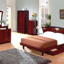 Exclusive Quality High End Bedroom Furniture with Extra Storage - Marsala modern mahogany finish bedroom set (full/queen/king). The design that has both quality sense and aesthetic sense is most moving.