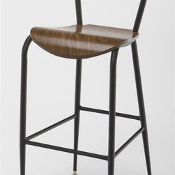 KFI Seating - Metal Bar Stool w Wooden Seat & Back in Walnu - Finish: WalnutBar stool has a 18mm gauge. 0.88 in. Round steel frame in black powder-coat. The seat and back are solid wood with walnut stain. 16.5 in. W x 19 in. D x 42.5 in. H