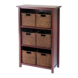 Winsome Wood - Three Shelf Wood Storage Unit w Six Rattan Ba - This three shelf wood storage unit features a deep, antique walnut finish and includes six rattan baskets.  It provides neat and stylish storage space and a great accent piece that will blend perfectly with your home's d̩cor. * Constructed of solid tropical hardwoodWalnut stain finish. Basket dimensions: 10.5in W x 9in H x 9in D . Shelf dimensions: 23.3in W x 11.14in D x 12.2in H. 43 in. H x 28 in. W x 13 in. D