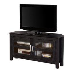 "Walker Edison - Walker Edison 44"" Castillo Black Corner Wood TV Stand - Walker Edison - TV Stands - W44CCRBL"
