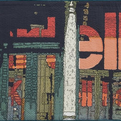 Soft City: Ell, Original, Mixed Media - Digitally manipulated photography, inkjet printing on cotton, hand quilted. Anodized aluminum hanging bars included (invisible from front when hung).
