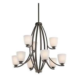 KICHLER - KICHLER Granby Transitional 9-Light Chandelier X-ZO95524 - A clean blend of casual and contemporary styling, this Kichler Lighting chandelier features 9 lights housed in beautiful satin etched opal glass shades. From the Granby Collection, a warm Olde Bronze finish completes the look.