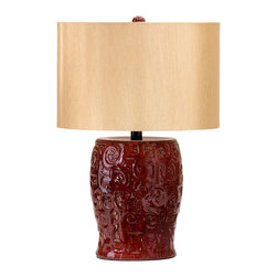 Kathy Kuo Home - Parsons Dark Ox Blood Red Ceramic Table Lamp Wood Shade - Earthy textural elements combine with vintage Asian attitude to create this elegant ceramic table lamp.  The luxury of a gold silk shade adds a rich glow, while a round finial tops it off.  Traditional spaces will love this as a solo piece or pair.