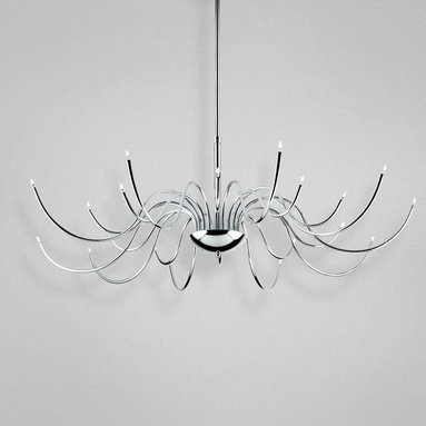 Kasper Chandelier by Eurofase - Kasper Chandelier features thin tubular chrome arms extending boldly from the center with sparkling tips of miniature halogen bulbs. Available in 20-light or 24-light versions. Either (20) or (24) 10-watt, 12 volt G4 bi-pin halogen bulbs are included. Dimensions: 20-light: 40W x 30H. 24-light: 44W x 29H.