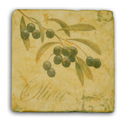 "Tile Art Gallery - Tuscany II - Tumbled Marble Accent Tile, 4 in - This is a beautiful sublimation printed porcelain tile entitled ""Tuscany II"" by artist John Zaccheo. The printed tile displays wine grapes with a rustic brown background."
