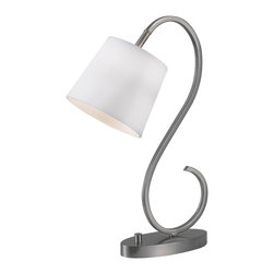 Wilson Brushed Steel Finish Desk Lamp - This delicate, decorative scroll lamp is perfect for bed or couch side reading.