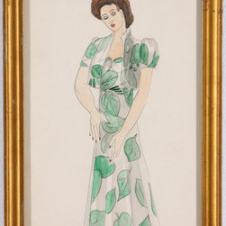 "Vintage Fashion Watercolor of Woman in Leaf Dress - An elegant young woman wears a long dress and jacket featuring a leaf motif in this striking watercolor from the mid-20th century. Unsigned, painted by Barbara Bernhardt. An American artist, Bernhardt studied at the Art Students League of New York and was known for her humorous and whimsical drawings.  Watercolor on paper, displayed in giltwood frame. There are some minor chips in frame. Image, 6.5""L x 9.5""H."
