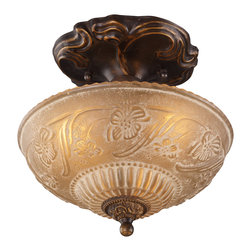Elk Lighting - EL-08103-AGB Restoration 3-Light Semi-Flush in Golden Bronze - A grouping of ceiling lighting developed with a discriminating concern for preserving historic lighting and architectural designs. This offering of expert restoration and replication fixtures is offered in a wide variety of styles and sizes.