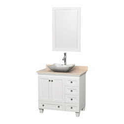 """Wyndham Collection - 36"""" Acclaim White Single Vanity w/ Ivory Marble Top & White Carrera Marble Sink - Sublimely linking traditional and modern design aesthetics, and part of the exclusive Wyndham Collection Designer Series by Christopher Grubb, the Acclaim Vanity is at home in almost every bathroom decor. This solid oak vanity blends the simple lines of traditional design with modern elements like beautiful overmount sinks and brushed chrome hardware, resulting in a timeless piece of bathroom furniture. The Acclaim comes with a White Carrera or Ivory marble counter, a choice of sinks, and matching mirrors. Featuring soft close door hinges and drawer glides, you'll never hear a noisy door again! Meticulously finished with brushed chrome hardware, the attention to detail on this beautiful vanity is second to none and is sure to be envy of your friends and neighbors"""