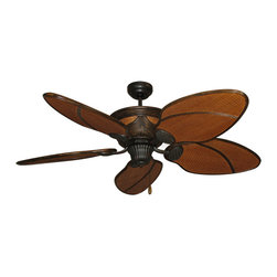 "Moroccan Night Tropical Ceiling Fan - 52 inch Sweep - Moroccan Night Tropical Ceiling Fan w/ 52"" Dark Rattan Blades. Crafted from rattan cane and weave, the Moroccan fan echos of the comfort of traditional rattan furniture. The Extra High Performance motor drives the oversized rattan blades to provide effective cooling breezes. The Moroccan is available in a dark two-toned stain, ""Night."""