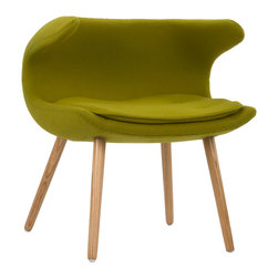 Laguna Wave Armchair in Olive - Have a quiet conversation in this chair inspired by iconic mid-20th century design. Upholstered with an olive green fabric and accentuated with tapered wooden legs, this eye-catching chair provides an intimate space for those who want to share more with family and friends.
