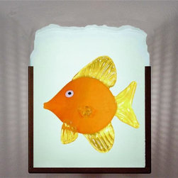 WPT Designs - Yellow Fish 3-Dimensional Glass on Glass Wall Sconce - The Yellow Fish Indoor or Outdoor sconce is a 3-dimensional glass on glass wall sconce framed by bronze powder-coated steel, and partial perforated side diffuser (see additional photo #2 for example of side diffuser). By using a combination of exotic elements and different glass techniques, we have produced an original, whimsical yet elegant line of fixtures illuminated with incandescent lamps.