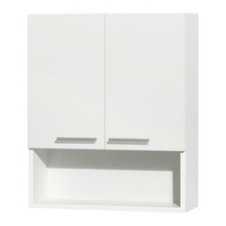 Wyndham Collection - Amare Bathroom Wall-Mounted Storage Cabinet in Glossy White (2 Door) - The Amare family of wall-mounted storage cabinets delivers beautiful wood grain exteriors offset by modern brushed chrome accents. The simple clean lines of the Amare family of storage cabinets are no-fuss and all style.