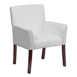 Flash Furniture - White Leather Executive Side Chair or Reception Chair with Mahogany Legs - Show off your sense of style with this white upholstered reception chair. The contemporary styling of the chair provides a dramatic statement to your space. The inset stitching and high wood legs will appeal to everyone in every setting.