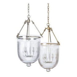 """Barbara Cosgrove - Barbara Cosgrove The Collection Bell Jar - Bell Jar with Ribbed Glass, Shiny Nickel and Antique Brass finishes.5.5"""" canopy diameterAccommodates three 25-watt bulbs"""
