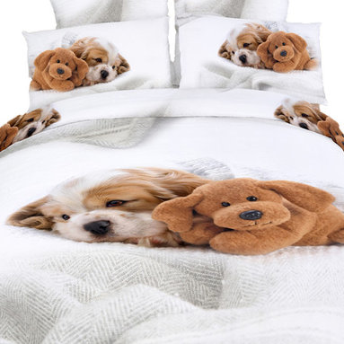 Dolce Mela - Fun Duvet Covet Bedding set, Cute Doggies Animal Print by Dolce Mela, Twin Xl - Don't wait to sneak under this stunning bedding ensemble and cuddle up with the sweetest print of puppy dogs.