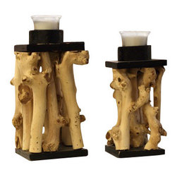 ParrotUncle - Decorative Tea Branch Candle Holder 2-Piece Set - These are real mulberry made into a candle holders.There is a padding on the bottom to protect furniture, the tea light may be removed when burnt out and replaced with new.This is natural tree wood and is as trees grow,with flaws that add to the beauty of nature. Wood candle holders