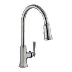 DHI-Corp - Barcelona Kitchen Faucet with Pullout Sprayer, Satin Nickel - The Design House 525683 Barcelona Kitchen Faucet with Pullout Sprayer features a single handle design with a 59-inch soft hose pullout side sprayer which eliminates baked on residue and rinses dishes and silverware clean of food and grime in hard to reach areas. Finished in satin nickel and designed with a classic octagonal style, this faucet set is refined and elegant with a ceramic cartridge and brass waterways. The brass waterways contain zinc and copper which are known to prevent antimicrobial growth ensuring safe and clean water for your family. This faucet has a classic finish with a modern design and accents your home decor, as it is the centerpiece of any home. The 1.9-gallon per minute flow rate ensures a steady water flow after years of everyday use and is UPC, Ab-1953 and cUPc compliant. Wash dishes or fill pitchers with ease underneath this high vaulted faucet. With a quick connect system, this product adheres to industry leading practices and standards. The Design House 525683 Barcelona Kitchen Faucet with Pullout Sprayer comes with a lifetime limited warranty that protects against defects in materials and workmanship. Design House offers products in multiple home decor categories including lighting, ceiling fans, hardware and plumbing products. With years of hands-on experience, Design House understands every aspect of the home decor industry, and devotes itself to providing quality products across the home decor spectrum. Providing value to their customers, Design House uses industry leading merchandising solutions and innovative programs. Design House is committed to providing high quality products for your home improvement projects.