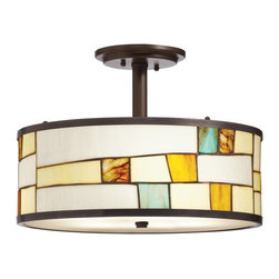 Kichler Lighting - Kichler Lighting Michaela Tiffany Semi Flush Mount Ceiling Light X-54356 - This Michaela Tiffany semi-flush mount ceiling light by Kichler Lighting has a fresh and inviting style. It features a Tiffany shade in a range of soothing colors in hues of yellow and aqua. The glass pieces are arranged in an interesting pattern and complemented by a frame in a shadow bronze finish. It's a piece that adds the finishing touch to your home decor.