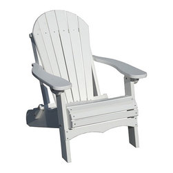 "Outdoor Furniture - The word is out that Comfort Craft has the most comfortable maintenance-free Adirondack Folding Chair you will find . Designed in the traditional Adirondack style with wide armrests, contoured seat and a 6-slatted back, this chair is a must have. Folds flat for easy storage and moving. This chair is one of our best sellers. Built in the USA from solid, durable, high-density HDPE plastic for the look and feel of real wood. Virtually maintenance free. Extremely easy to clean with soap and water. Works well with Comfort Craft's 28"" Side Table and 39"" Conversation Table."