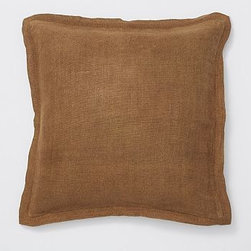 "Linen with Silk Trim Pillow Cover 20"" sq., Natural - Made of a refined linen blend with a silky flange, our cover is equal parts luxurious and casual. 20"" square Made of linen with a silk flange. Zipper closure. Insert sold separately; down blend or synthetic. Dry-clean only. Imported."