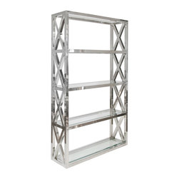"Worlds Away - Worlds Away Clifton Stainless Steel Etagere - Glass shelves rise in transitional elegance on the Worlds Away Clifton e��_tage��_re. Classic in a polished silver finish, criss-cross details punctuate the bookshelf's sides for a chic style statement. 48""W x 14""D x 78""H; Stainless steel; Four fixed beveled glass shelves"