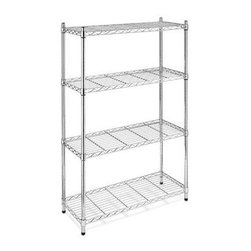 "Whitmor - Supreme 4 Tier Shelving Chrome - Whitmor Supreme 4 Tier Shelving Chrome - Dimensions: 14"" x 36"" x 54"" - Heavy duty  chromed finish.  Evenly distributed 350 pound capacity per shelf.  Shelves and 1"" diameter tubes are adjustable in 1"" increments.  NSF certified.  This item cannot be shipped to APO/FPO addresses. Please accept our apologies."