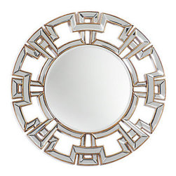 Z Gallerie - Pierre Mirror - Our outstanding Pierre combines all the right elements for the ultimate in elegance. The frame is intricately crafted in a classic geometric motif with an interesting overlapping effect. Each straight section of the design is an individual beveled mirror piece, and the deep edges of the engineered wood frame are finished in a rich Antique Gold. A sensational focal point for any room. FedEx Standard Shipping available.