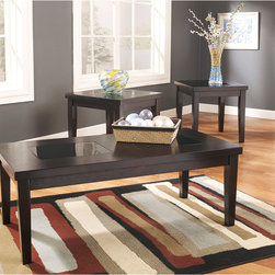 Signature by Ashley - Denja 3 Piece Occasional Table Set - Contemporary Design. Table Top with Colored Glass Inserts. Solid Apron. Constructed of Select Veneers and Hardwood Solids. Dark Brown Finish. 2 End Tables: 23.75 in. W x 22 in. D x 22.125 in. H. Cocktail Table: 47.875 in. W x 23.875 in. D x 18 in. H.