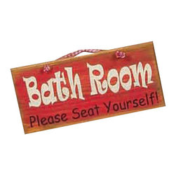 Sleepy's Signs - Rustic Bath Room Wood Sign - Rustic  Wood  Signs  -  Bath  Room  -  Please  Seat  Yourself          Add  some  rustic  humor  to  your  decor  with  this  witty  sign:  Bath  Room  -  Please  Seat  Yourself.  Hand  made  in  the  USA  from  solid  wood,  the  sign  is  given  a  distressed  red  finish  with  bright  white  lettering,  and  a  simple  rope  hanger.  Add  to  your  rustic  lodge  bath  for  a  light  laugh  each  time  you  go  in.  Perfect  for  any  rustic  log  home  or  woodland  cabin.                  Rustic  Wood  Sign              12  inches  wide  x  5.5  inches  high              Rope  Hanger              Made  in  USA              Allow  4-6  weeks  for  shipping