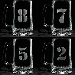 "Crystal Imagery, Inc. - Numbered Beer Mugs, 1 - 8 Beer Mug Set - Engraved Numbered One through Eight Beer Mug Set of 8 Mugsare perfect idea for keeping track of your drink at the party. The beer mugs are engraved with numbers 1-8 on 8 different beer mugs and make a unique and classy birthday gift idea, wedding gift idea, housewarming or hostess gift ideas. Deeply carved using our sand carving technique, each of our custom beer mugs is meticulously custom made to order making it the perfect gift for those seeking unique gift ideas for beer lovers - men and women alike. At 5.75"" high x 3"" wide, our beer mugs and glasses hold 15 oz. A set of these etched, engraved beer mugs will be the favorite gift at any special gift giving occasion. Dishwasher safe."