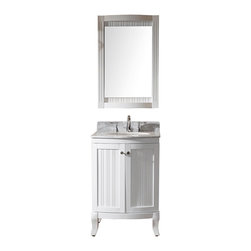 VIRTU - Virtu USA Khaleesi 24 inch Single Sink White Vanity with Carrara White Marble Co - Virtu USA 24 inch Khaleesi single sink bathroom vanity sends off a flamboyant confidence of style. The vanity offers two soft closing doors,a matching mirror and an Italian carrera white marble countertop with a backsplash.