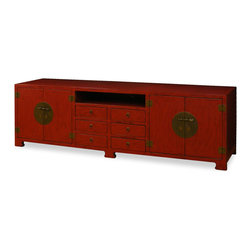 China Furniture and Arts - Elmwood Tang Media Cabinet - Sleek in shape and spare of ornate decoration, our Elmwood sideboard exemplifies the Ming aesthetic that simplicity is beauty. This cabinet can be used as a sideboard to store books or use it as living room furniture to place a plasma TV. Six drawers in the middle, an open compartment for media components in the center, and two cabinets on each side with a removable shelf inside provide ample storage space. Multi layers of red lacquer meticulously hand-applied to create a rich matte red appearance. The polished cast-brass pull and decorative hinges are symmetrically fitted reflecting the Chinese ideal of unity.Cable outlets can be made upon request.