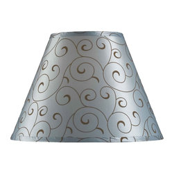 Design Craft - Design Match 15-inch Blue Velvet Flocked Lamp Shade - Customize your favorite lamp with this charming blue velvet flocked lamp shade. Finished in a beautiful blue color, this 15-inch fabric shade features a brown scrollwork pattern to add contemporary elegance to any space.